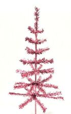 "Pink Silver Christmas Feather Tinsel Tree w/ Pink Base - 48"" Pink Tabletop Tree"