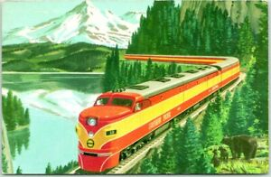 "1956 SOUTHERN PACIFIC RAILROAD Adverting Postcard ""Streamliner SHASTA DAYLIGHT"""