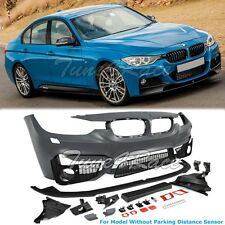 For 12-Up BMW F30 3-Series M3 Style Front Bumper Cover w/ Aero Lower Lip NO PDC