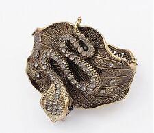 new Vintage Retro Punk Rhinestone Curved big bronze Snake Cuff Bangle Bracelet