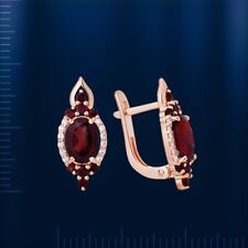 Russian solid rose gold 585 14k genuine oval garnet, CZs cluster earrings NWT