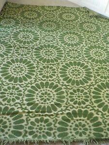 Retro Hippie Vintage Chenille Bedspread w/ fringe Avocado Green  106 x 89