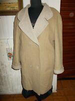 Veste  manteau chaud 100% laine beige FASHION COLLECTION INTERNATIONAL 46FR 16Uk