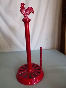 (Q) Metal RED Rooster Chicken Paper Towel Holder  Farmhouse Decor Country Home