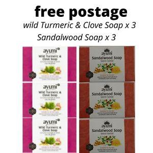 Ayuuri Wild Turmeric & Clove 100g X 3, Sandalwood Soap (Savon Santal) 100g x 3