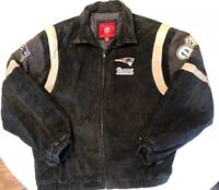 Vintage NFL G-11, Patriots Suede Navy Blue Leather Bomber Jacket Mens Size XL
