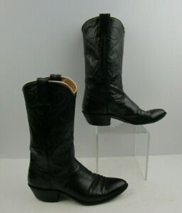 Ladies Nocona Black Leather Round Toe Western Cowgirl Boots Size: 6.5 A