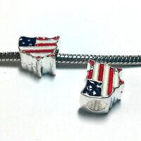 3 Beads - Patriotic United States Flag Enamel Silver European Charm Bead E1367