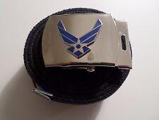 U.S MILITARY BLUE WEB BELT WITH AIR FORCE CHROME PLATED BRASS BUCKLE U.S.A MADE