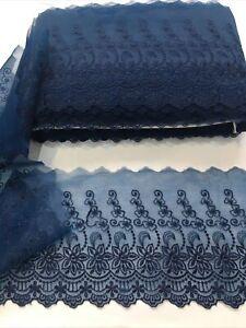 6 Inch Navy Wedding Type Organza Mix type  Lace Trim Beautiful Design & Qaulity