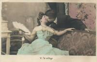 VINTAGE HAND-COLOURED FRENCH REAL PHOTO LADY NEARLY FAINTS KISSING POSTCARD