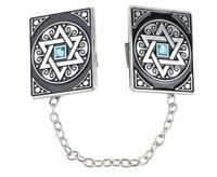 TC01 Jewish Nickel Tallit Clips Star of David Prayer JERUSALEM Religion Tallis