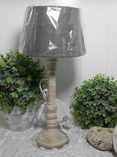 Tischlampe Tischleuchte Landhaus Vintage weiß gewischt Taupe E 27 A++ 42 cm