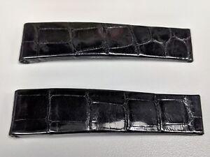 Original Rolex Black Shiny Genuine Crocodile Deployant Watch Strap B8756 18.5mm