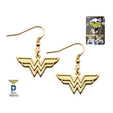 Official Wonder Woman Stainless Steel Gold Plated Hook Dangle Earrings DC Comics