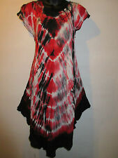 Dress Fits Plus 1X 2X 3X Black Red Tie Dye Sundress Tunic Top A Shaped NWT A802