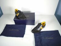 Polo Ralph Lauren Mylor Calf Black Yellow Sneakers Made In Italy Mens Size 8