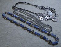 VINTAGE TO NOW ASSORTED BLUE & SILVER BEADED LUCITE & COIN CHARM NECKLACE LOT