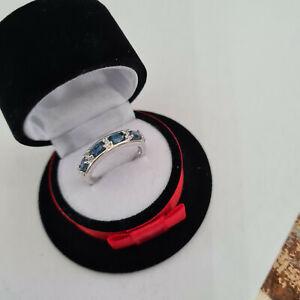 Beautiful Kashmir Blue Kyanite & Zircon Ring in Sterling Silver