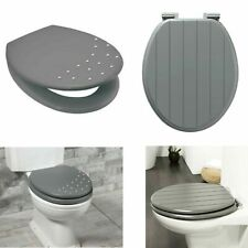 Grey Toilet Seat Wooden MDF Diamante Strong Chrome Hinges Loo Seats With Fitting