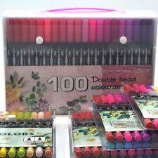 12 24 36 48 80 100 Colour Dual Tip Brush Pens Colouring Art Markers White Black