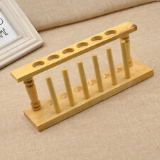 Wood Wooden 6 Holes Test Tube Airing Storage Rack for Chemistry Lab Supplies