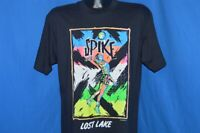 vintage 90s LOST LAKE NEON VOLLEYBAL SPIKE BLACK COTTON BEACH t-shirt LARGE L