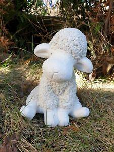 Steinfigur Schaf Lamm klein in weiss Schäfchen