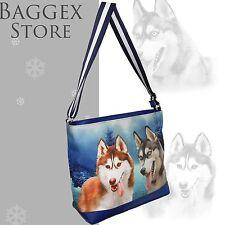 Furbabies Husky Original portrait drawing printed Canvas Large Shoulder Bag
