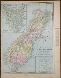 "Vintage 1901 NEW ZEALAND SOUTH Map 11""x14"" ~ Old Antique Original TIMARU OAMARU"