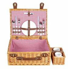 Vintage Outdoor Wicker Picnic Basket Willow Rattan Set for 2 Persons Handwoven