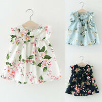 Toddler Kid Baby Girl Outfits Clothes Floral Party Pageant Princess Casual Dress