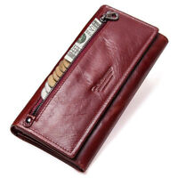 Genuine Leather Women Long Wallet Female Clutches Money Handbag Cell Phone Purse