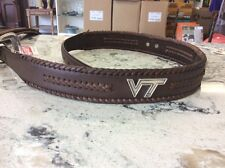 Men's Brown Genuine Leather Belt with Virginia Tech Conchos 32 R