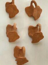 Terra Cotta Clay Leaf Shaped Napkin Rings Set of 4