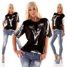 maglia donna t-shirt maglietta oversize y paillettes silver manica corta nuova