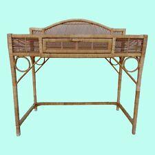 Vintage Island Style Woven Wrapped Rattan Desk Console Vanity Palm Beach Boho