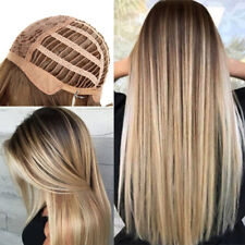 Women Lady Blonde Fashion Wig Synthetic Long Straight Dark Root Ombre Wigs + Net