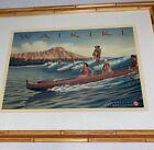 Waikiki Surfers Catamaran Hawaii Print Faux Bamboo Frame Matted Tiki Bar Decor