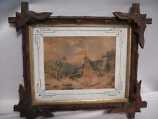 """Folk Art Antique Primitive Wood Tramp Art 12"""" Tall Wooden Hand Carved Frame"""