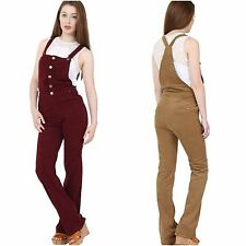 Womens K-Zell Corduroy Thin Button Bordeaux Camel Dungarees Jumpsuit Flared Bib