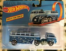 HOT WHEELS TRACK STARS VW CUSTOM VOLKSWAGEN HAULER BLUE FLAMES NEW SEALED OH5