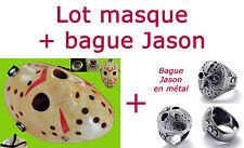 LOT MASQUE + BAGUE JASON VOORHEES VENDREDI 13 HORREUR HOCKEY  DÉGUISEMENT ADULTE