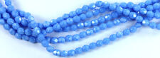 50 Sky Blue Coral Czech Firepolished Faceted Faceted Round Glass Beads 4mm