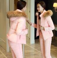 Women's Two-piece suit Down Coat cotton Pant Fur collar embroidery Slim Winter