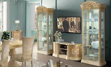 Glasvitrine Vitrine Vitrinenschrank Glas Hochglanz Gold Stilmöbel aus Italien
