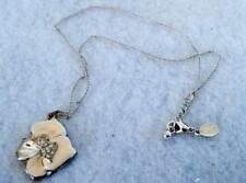 "Express 18"" Silver Tone Chain Necklace 1"" Flower Pendant Cream with Rhinestones"