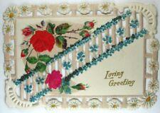 Victorian Die Cut, Embossed & Glitter - Loving Greeting Valentine - Roses