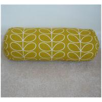 "16""x6"" Round Bolster Lumbar Cushion Cover Orla Kiely Linear Dandelion Yellow"