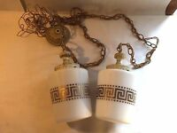 Vtg MCM Double Swag Lamp Light Fixture Ceiling Hollywood Regency Milk Glass